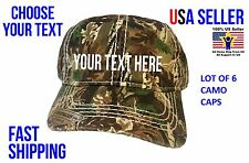 LOT OF 6 *GUARANTEED* CUSTOM PERSONALIZED EMBROIDERED CAMO Hats Caps. FREE SHIP.