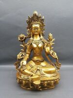 Collect Tibet Buddhism gilt copper Seat Green Tara Goddess holy Buddha statue