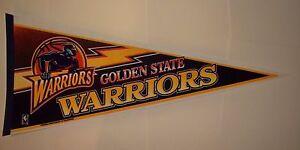 "Vintage 1990s Golden State Warriors Old Logo Full Size 30"" Pennant"