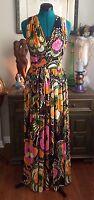 Vtg 60s MOD Psychedelic Maxi Dress Hippie Floral Boho Festival Gown S/M RETRO