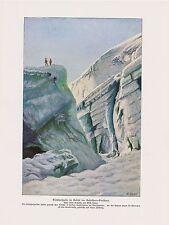 Gletscherspalte Gabelhorngletscher Zmuttgletscher n.Gemälde Farbdruck von 1912