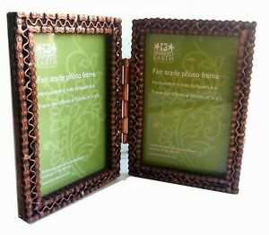 Double 6 x 4 inch Fairtrade photo frame made from recycled bicycle chain.