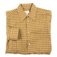 Ermenegildo Zegna Long Sleeve Cotton Check Plaid Button Front Shirt Medium Italy