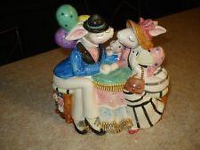 1995 FITZ  & FLOYD Bunny Rabbit Family Party Cookie Jar Box VERY RARE Sri Lanka
