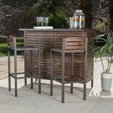 Outdoor Patio Slatted Acacia Wood Iron Framed 3 Piece Bar Set