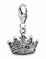 Crown Princess Queen Royalty Clip On Dangle Charm Gift for Traditional Bracelets