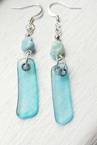Turquoise sea glass & larimar bead earrings