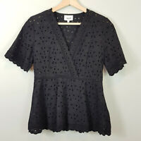 SEED HERITAGE | Womens Black Pretty Broderie Top [ Size AU 8 or US 4 ]