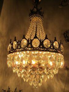 "Antique French Huge Bohemia Crystal Art Nouveau Chandelier Ceiling Lamp 1940's """