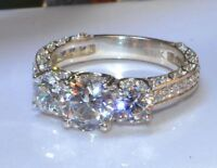 Certified 2.40Ct White D/VVS1 Diamond Three Stone Engagement Ring 14K White Gold