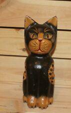 Vintage hand carving wood cat statuette