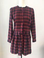 J. CREW Plaid Dress Shirt Dress Size 4 100% Silk / Navy Red