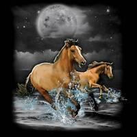 Horse T-Shirt Horses Running Night Moon Tee