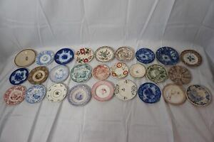 ANTIQUE STAFFORDSHIRE CUP PLATES TRANSFER WARE FLOW BLUE 4in LOT 27 1800s AS IS