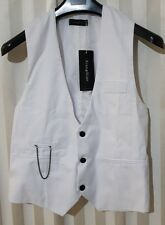 Mens White Vest Waistcoat Formal - fasten buckle strap Teenage Adult AU Size S