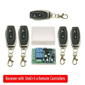 2CH Garage Door Remote Control Switch Relay Wireless Transmitter+Receiver Kit UK