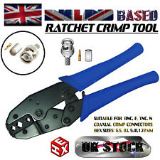 BNC RATCHET CRIMP TOOL - HEX TO CRIMP BNC/N/F/TNC CONNECTORS - RG59/58/6/62 COAX