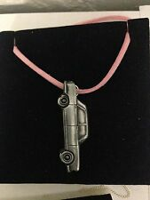 Peugeot 404 Saloon ref174 Pewter Effect Car on Pink Cord Necklace Handmade 41CM