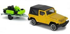 Jeep Wrangler Rubicon Yellow with Kart Majorette Trailer 224A Toy Car 1:64