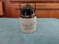 ANTIQUE WEIR POTTERY AS YOU LIKE IT HORSE-RADISH STONEWARE JAR PATENT 1902