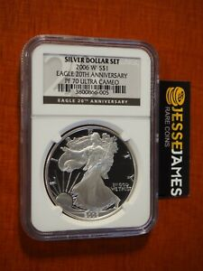 2006 W PROOF SILVER EAGLE NGC PF70 FROM 20TH ANNIVERSARY SET BLACK LABEL