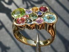 Solo su ordinazione, anello oro 18 ct,zaffiro,rubino,smeraldo,peridoto,tormalina