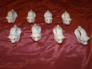 8 , Ceramic Pink Piggy Napkin Rings Holders with Painted on Flowers ,Soooo Cute