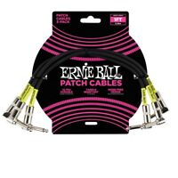 Ernie Ball 6075 Flat Pancake Guitar Patch Cables, 3-Pack, Black - 1ft