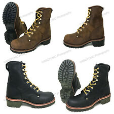 Brand New Men's Logger Boots Leather Good Year Welt Rugged Work Motorcycle Biker