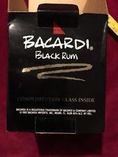 BACARDI BLACK RUM ROCK SQUARE GLASS BAR HIGHBALL ORIGINAL BOX  NICE PIECE !!