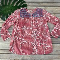 J.Crew Printed Embroidered Placket Top Size XS Pink Blue Floral Peasant Boho