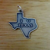 Sterling Silver 23x21mm says I Love Texas with Heart State Charm