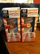 2 new Sylvania  60 watt replacement bulbs, 13 watt , spiral energy super saver