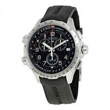 NEW HAMILTON KHAKI X-WIND CHRONO GMT BLACK RUBBER H77912335