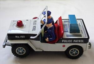 Vintage Daiya Police Patrol Jeep #152 Pressed Metal