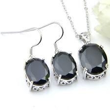 Wholesale Jewelry Lots 2 Pcs Oval Black Onyx Gems Silver Woman Pendant Earrings