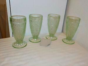 4 VINTAGE TIARA SANDWICH GLASS CHANTILLY GREEN ICE TEA GLASSES TUMBLERS 1970