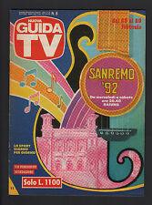 GUIDA TV MONDADORI 8/1992 SANREMO PROGRAMMI TV LOCALI ZONA NORD TELECAMPIONE