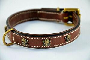 LEDER - Halsband braun, messingfarbener SKULL  Gr. 26 - 30 cm