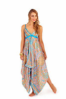 LADIES SATIN PINK PAISLEY DIP HEM SUMMER MAXI BEACH DRESS STRAPLESS UK 8-18