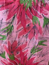 New listing  Vera Neumann Vintage Pink Abstract Flowers & Green Leaves/Black-Tea Towel-Unused