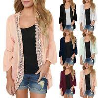 Women's Casual Solid Lace 3/4 Flare Sleeve Chiffon Cardigan Plus Size Kimono Top