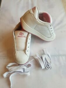 Girls Heelys Size UK 3 White Patent With Pink