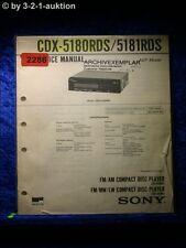 Sony Service Manual CDX 5180RDS / 5181RDS CD Radio (#2286)