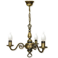 CHANDELIER 3 ARMS TRADITIONAL CEILING LIGHT - ANTIQUE BRASS FINISH - CANDLE
