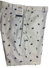 Izod Saltwater Mens Casual Shorts White Lobsters Anchors Cotton Spandex NEW