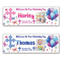 2 Personalised Christening Baptism Holy Communion Birthday Banner Photo Party