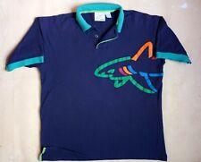 Vtg Reebok x Greg Norman Polo Shirt Streetwear Hip Hop 90s Euc Blue Neon Teal