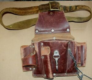 OCCIDENTAL LEATHER TOOL POUCH w/ Belt, Hammer Hook & Many Compartments
