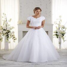 Ball Gown Organza Modest Wedding Dress Lace Short Sleeve Court Train Plus Size